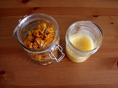 Calendula blossoms and balm